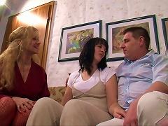 Fishnet-clad Granny With Long Blonde Hair Enjoying A Fantastic Threesome
